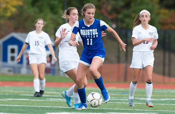 10/08/19 Wesley Bunnell | StaffrrBristol Central girls soccer defeated Bristol Eastern 1-0 at Bristol Eastern High School on Tuesday afternoon. BE's Ciara Collins (11).