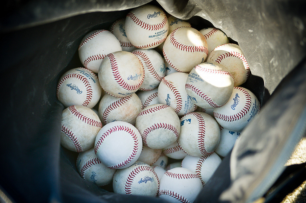 . One of many baskets of balls scattered across the Lee County Sports Complex. (Pioneer Press: Ben Garvin)