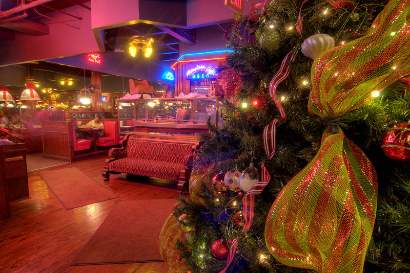 Christmas decor brightens the interior of Calhoun's on the Tennessee River in Knoxville, TN on Monday, December 15, 2014. Copyright 2014 Jason Barnette