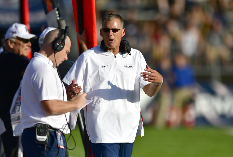 9/29/2018 Mike Orazzi | Staff UConn's Randy Edsall during Saturday football game with Cincinnati.