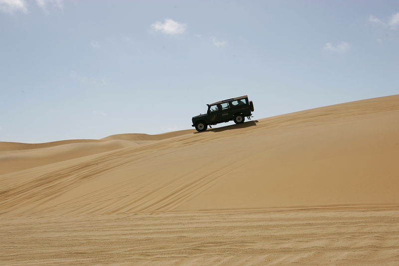 Namibia dunes and Land Rover 110