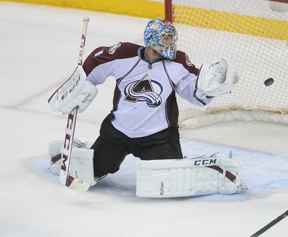 . Colorado goalie Semyon Varlamov made a save in the second period. The Minnesota Wild hosted the Colorado Avalanche at the Xcel Energy Center in St. Paul Monday night, April 21, 2014. (Photo by Karl Gehring/The Denver Post)