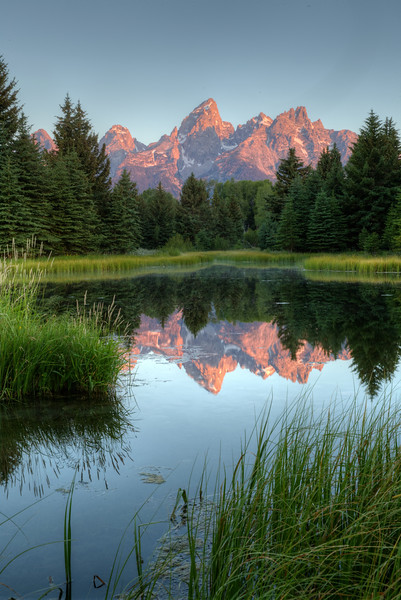 The beginning of another Bluebird Day in northwest Wyoming - Schwabacker's Landing - Grand Teton National Park - America!