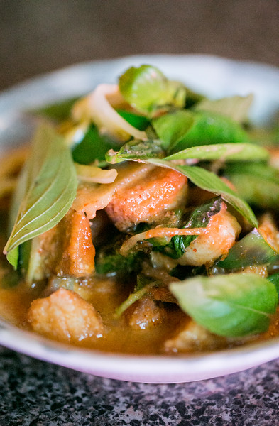 Talat Market serves a Thai red curry catfish with eggplant, rattlesnake beans, lime basil, ginger and pickled green tomatoes.  Menu changes weekly at the semi-permanent pop-up that has taken residence at Gato on McLendon for dinner on Friday, Saturday and Sundays.    (Jenni Girtman/ Atlanta Event Photography)