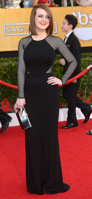 . Sophie McShera arrives at the 20th Annual Screen Actors Guild Awards  at the Shrine Auditorium in Los Angeles, California on Saturday January 18, 2014 (Photo by Michael Owen Baker / Los Angeles Daily News)