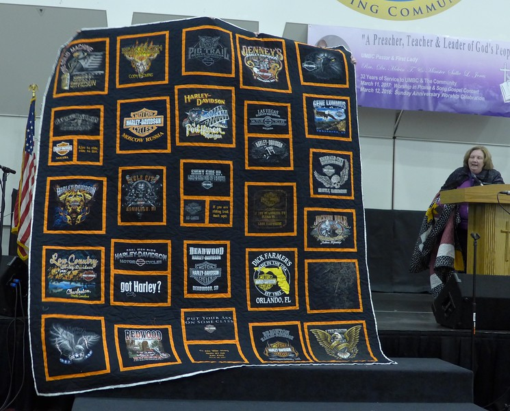 Sharon Wexler made this Harley-Davidson Tee Shirt quilt for a coworker.  Some embroidery blocks were made by Rose Harvey.  quilted by Helen Novak.