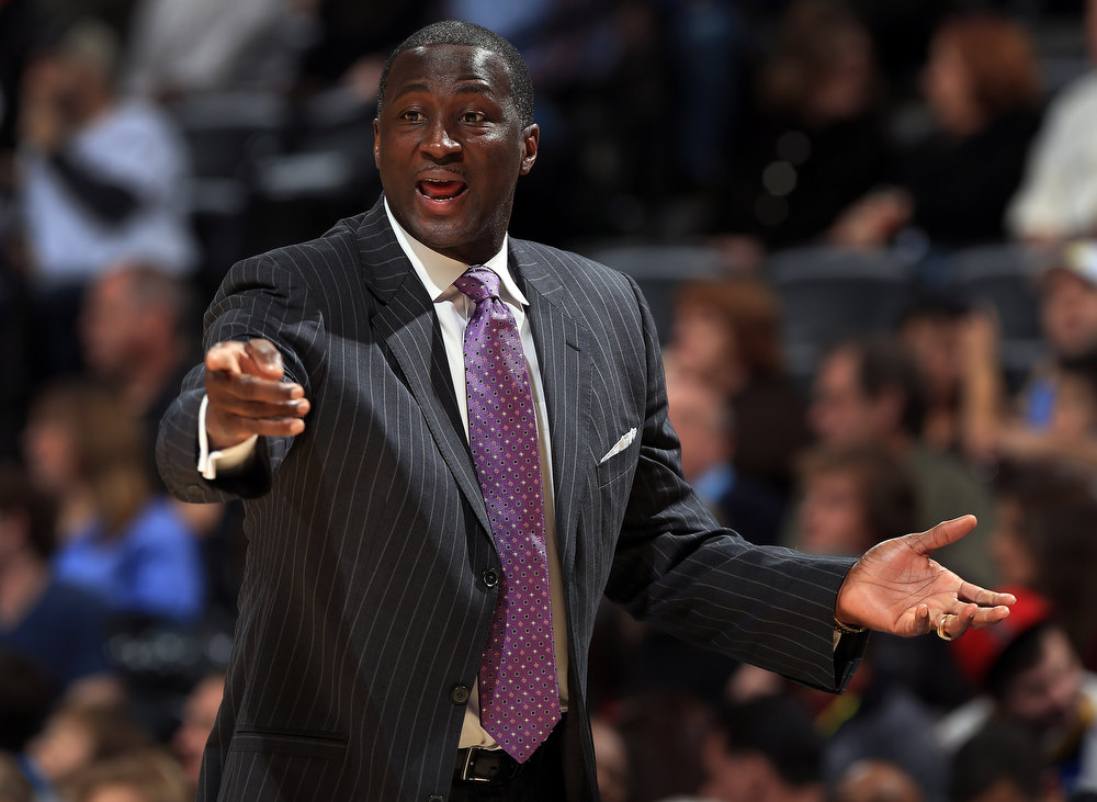 . Head coach Tyrone Corbin of the Utah Jazz leads his team against the Denver Nuggets at the Pepsi Center on January 5, 2013 in Denver, Colorado. (Photo by Doug Pensinger/Getty Images)
