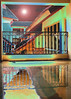 Colorful abstract photograph painting of reflective architecture.