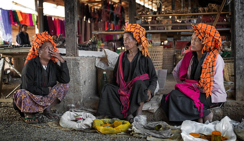 Women from the Pa,O tribe in a market in one of the small villages on Inle Lake.  Inle Lake, Myanmar, 2017