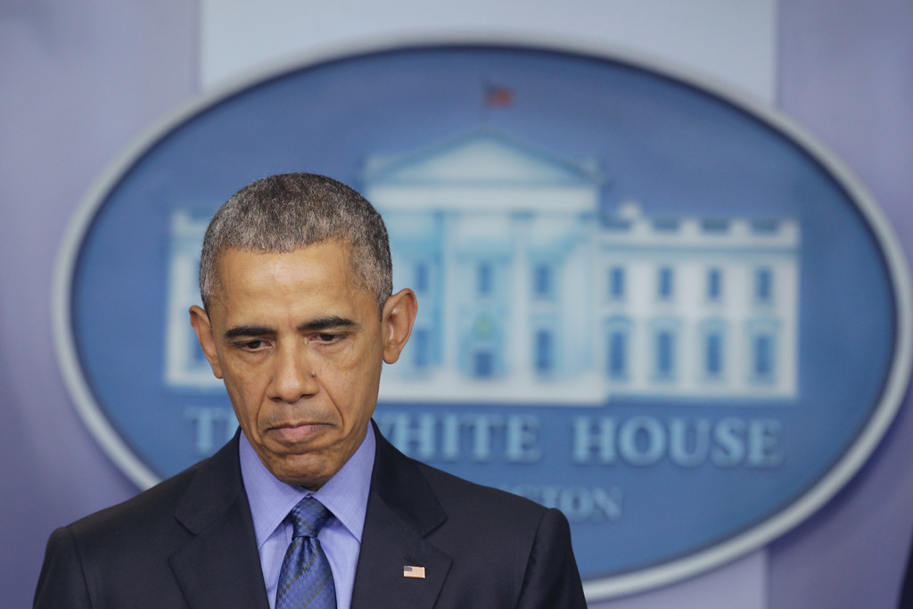 . U.S. President Barack Obama pauses during a statement regarding the shooting in Charleston, South Carolina, June 18, 2015 at the James Brady Press Briefing Room of the White House in Washington, DC. Authorities have arrested 21-year-old Dylann Roof of Lexington County, South Carolina, as a suspect in last night\'s deadly shooting at the Emanuel AME Church in Charleston, South Carolina, killing nine people.  (Photo by Alex Wong/Getty Images)