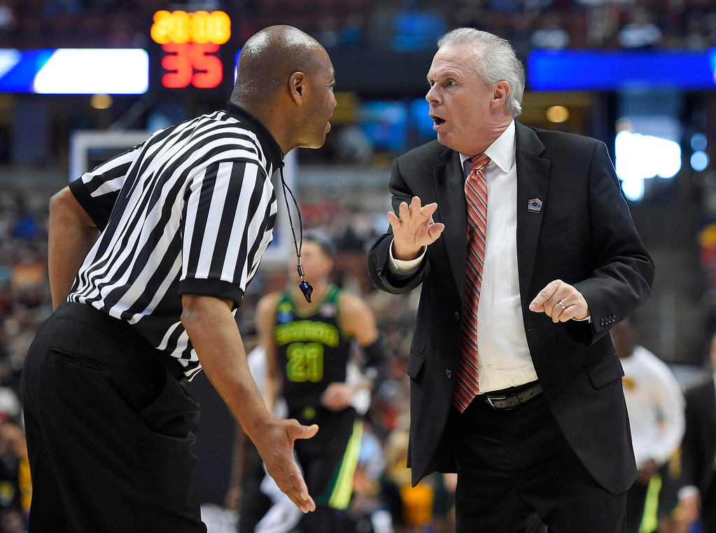 . Wisconsin coach Bo Ryan argues a call during the first half against Baylor in an NCAA men\'s college basketball tournament regional semifinal, Thursday, March 27, 2014, in Anaheim, Calif. (AP Photo/Mark J. Terrill)
