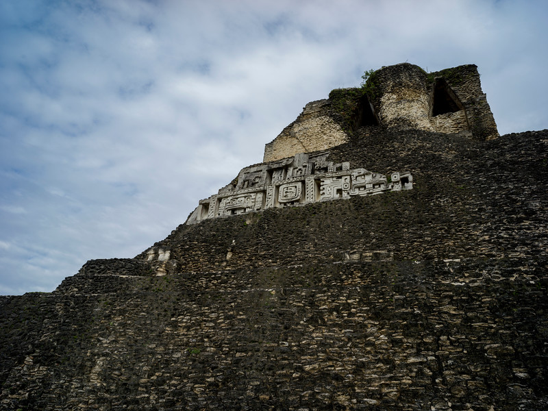 Low angle view of ruins of Mayan pyramid, Ancient Mayan Archaeological Site, San Jose Succotz, Cayo District, Belize