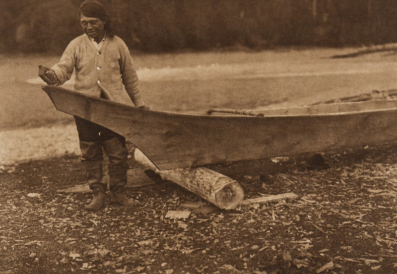 Canoe Finishing - Quinault (The North American Indian, v. IX. Norwood, MA: The Plimpton Press, 1913)