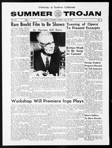 Summer Trojan, Vol. 13, No. 10, July 29, 1963