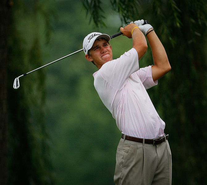 2010 Western Junior Champion Patrick Rodgers of Avon, IN., hits a shot during the first round Tuesday.