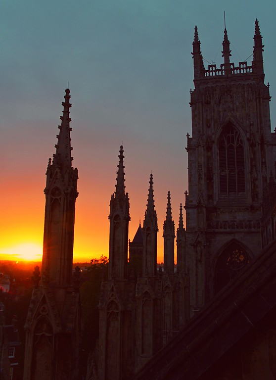 . The sunset from atop the York Minster (Photograph by Dennis Lennox)