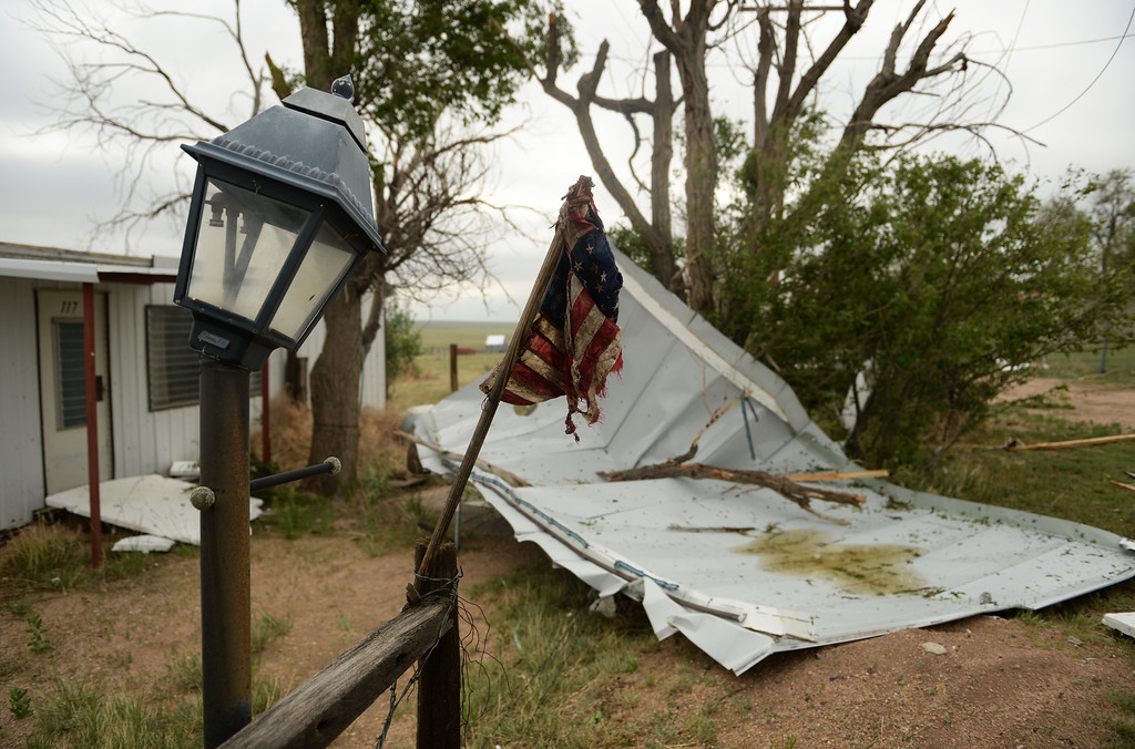 . A lager storm that moved through Hugo over night damaged property, June 5, 2014.  (Photo by RJ Sangosti/The Denver Post)