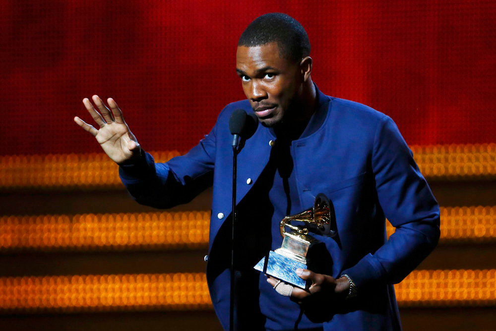 "Description of . Frank Ocean accepts the award for best urban contemporary album for ""Channel Orange\"" at the 55th annual Grammy Awards in Los Angeles, California, February 10, 2013.  REUTERS/Mike Blake"