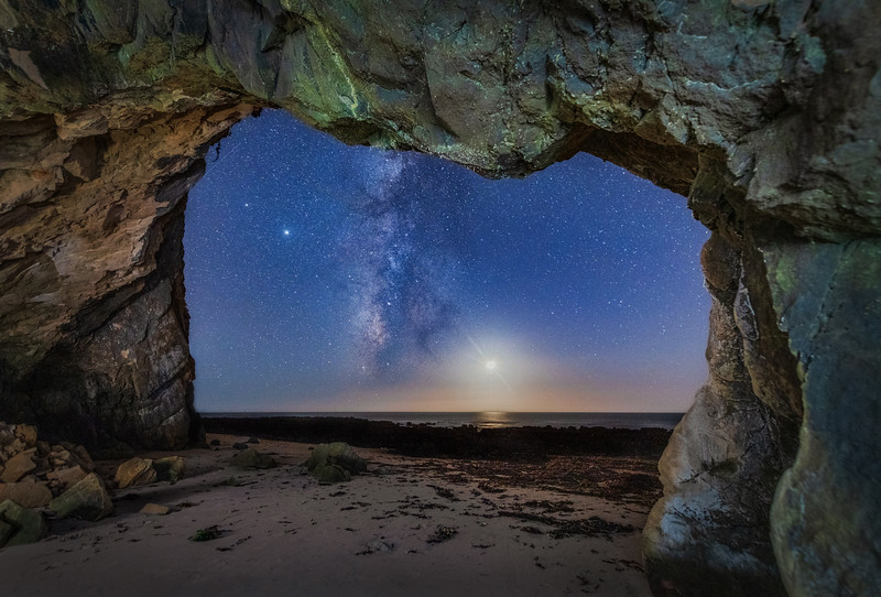Schooner Beach Sea Cave & Milky Way, Study 3