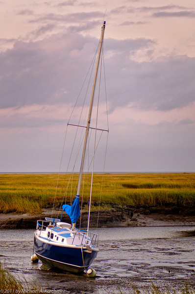 Cape Cod Boat Resting at Low Tide, Yarmouth Port (2011) [Michael A. Karchmer]