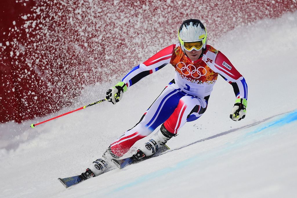. France\'s Alexis Pinturault competes during the Men\'s Alpine Skiing Giant Slalom Run 1 at the Rosa Khutor Alpine Center during the Sochi Winter Olympics on February 19, 2014. AFP PHOTO /  FABRICE COFFRINI /AFP/Getty Images
