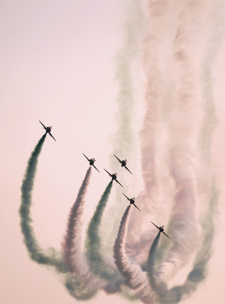 . Saudi Hawks display team perform during the opening of the Bahrain International Airshow 2014, in Sakhir, south of the capital Manama, on January 16, 2014. (MOHAMMED AL-SHAIKH/AFP/Getty Images)