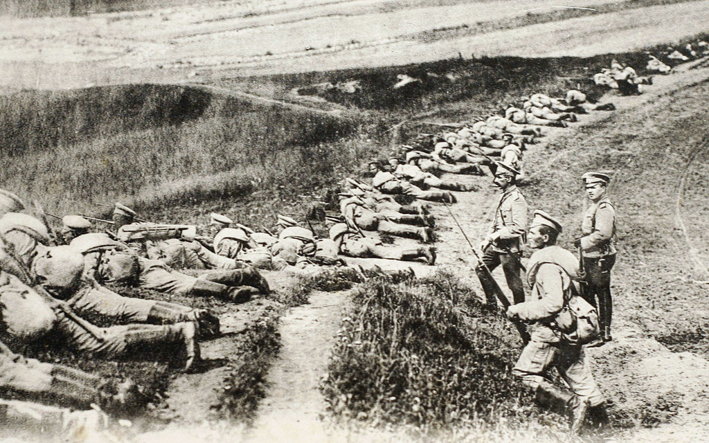 . This file picture of a post card released by the Historial de Peronne, Museum of WWI, shows Russian soldiers on the East Prussia front during the WWI. After a week of failed diplomacy, dithering and doubt, Tsar Nicholas II ordered Russia\'s armies to mobilize on July 30, 1914. There would be no turning back from a decision that set Europe on a course to war.  AFP PHOTO / STRINGERSTRINGER/AFP/Getty Images