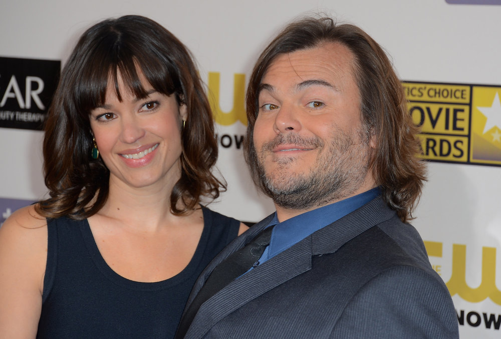 . Actor Jack Black and Tanya Haden arrive at the 18th Annual Critics\' Choice Movie Awards at Barker Hangar on January 10, 2013 in Santa Monica, California.  (Photo by Frazer Harrison/Getty Images)