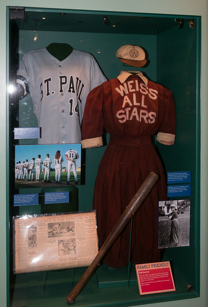1997 jersey from Ila Borders (minor league player) and 1908 bloomers uniform from Alta Weiss (women in baseball exhibit) -- A trip to the Baseball Hall of Fame, Cooperstown, NY, June 2014