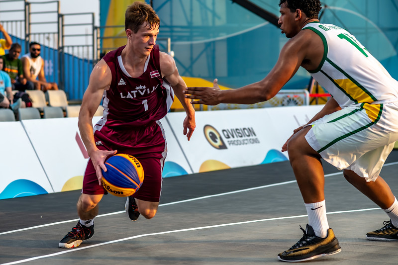 Brasil and Latvia in action during day one of the International 3x3 Basketball Tournament during the 1st ANOC World Beach Games at Katara on October 13, 2019 in Doha, Qatar. Photo by Tom Kirkwood/SportDXB