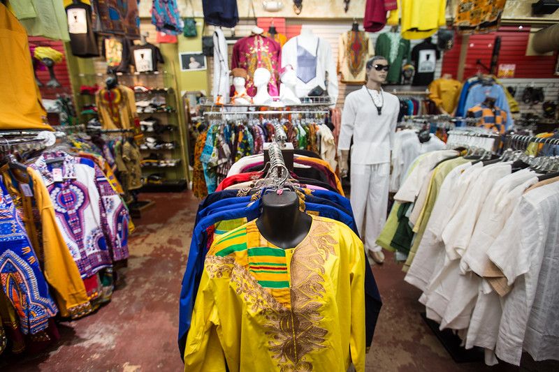 Traditional African fabrics and clothing are available at AfroCentric Network where fabrics from Ghana and Kenya are in great supply on Lee Street, just south of I-20.   (Jenni Girtman / Atlanta Event Photography)