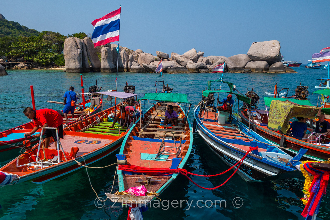 Colorful Water Taxis, Ko Tao, Thailand