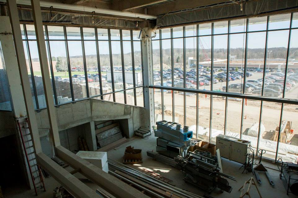 . A view of the first-floor common space from the second level where there will be more student collaboration space and food service. (Photo by Jason Willis/Oakland University)