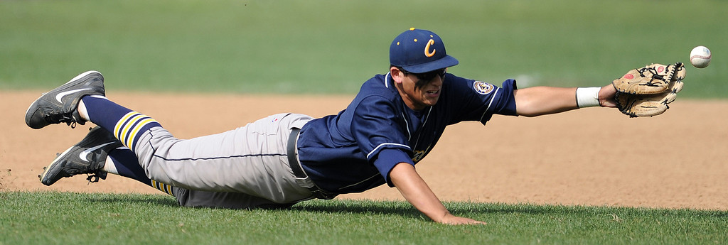 . La Canada\'s Daniel del Valle (not pictured) singles past California shortstop Robert Barraza in the third inning of a CIF-SS playoff baseball game at La Canada High School on Thursday, May 16, 2013 in La Canada, Calif. La Canada won 4-2.  (Keith Birmingham Pasadena Star-News)
