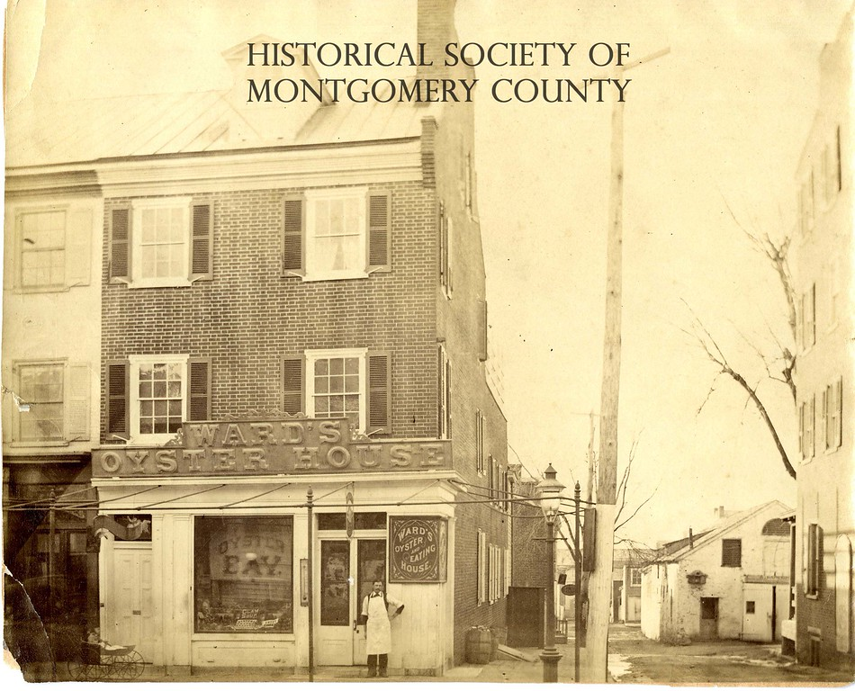 . This undated photo from the Historical Society of Montgomery County show Ward\'s Oyster House, which was located at Main and Strawberry streets in Norristown. B.T. Ward is seen standing in the doorway.