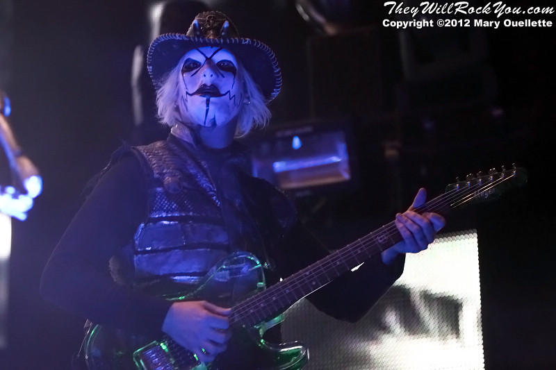 """Rob Zombie and his band perform on October 21, 2012 on the """"Twins of Evil"""" tour at the Verizon Wireless Center in Manchester, New Hampshire"""