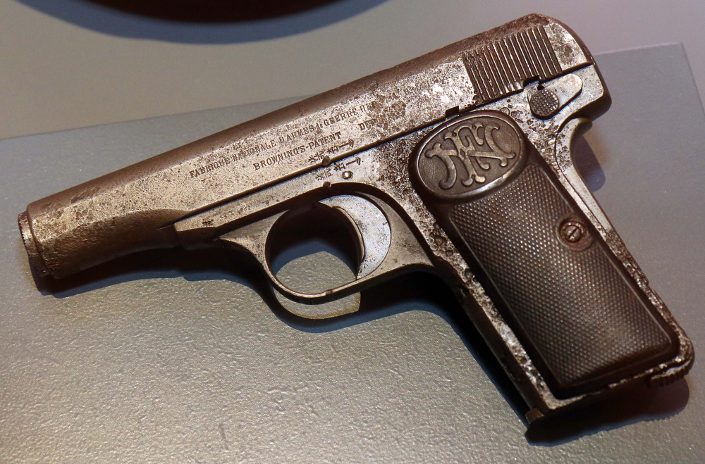 . A pistol used by one of the assassins of Austrian Archduke Franz Ferdinand when he was shot to death in Sarajevo is on display at the Museum of Military History in Vienna, Austria, on Friday, June 27, 2014. Franz Ferdinand and his wife Sophie were assassinated in Sarajevo on June 28, 1914, and event which eventually led to the outbreak of World War I. (AP Photo/Ronald Zak)
