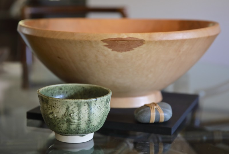A perfect spot for one of the tea bowls - next to Randy's wood bowl