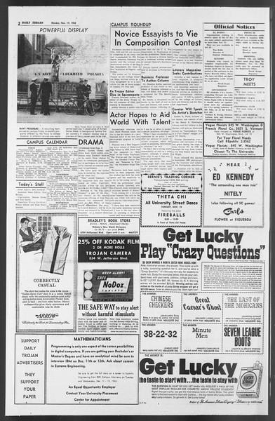 Daily Trojan, Vol. 54, No. 39, November 19, 1962