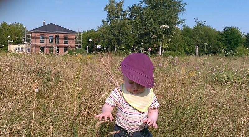 Bauherr Junior erkundet das Grundstück