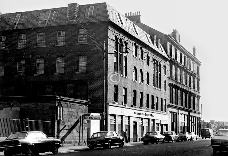Oxford St, north side between Buchan St and Gorbals St.   Scott's shoe factory again.    September 1973