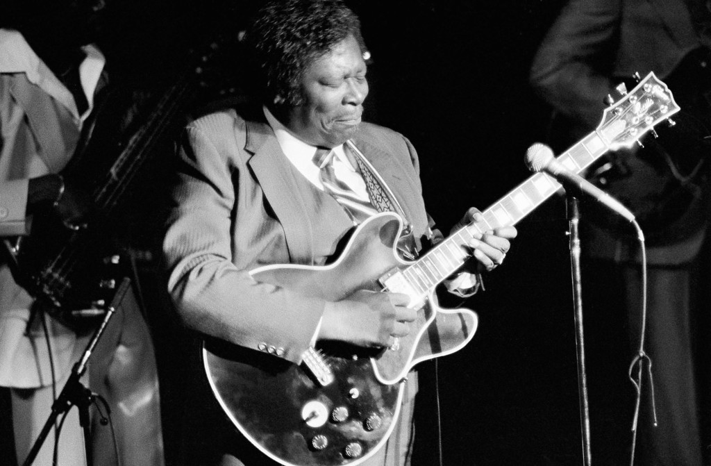 . B.B. King live in concert at The Kool Jazz Festival in New York, NY on July 2, 1983.  (AP Photo/Carlos Rene Perez)