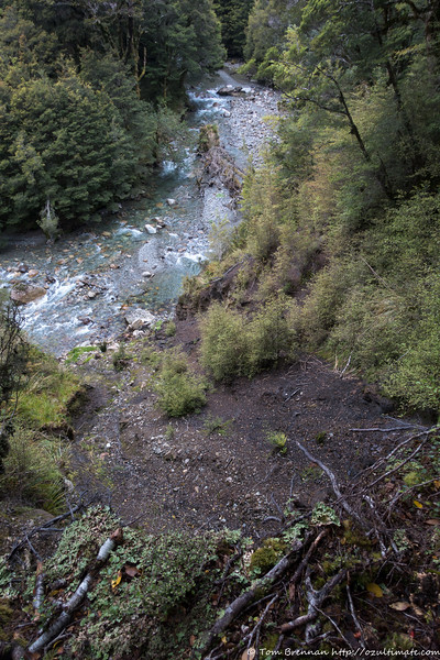 Looking down a landslip to the river below