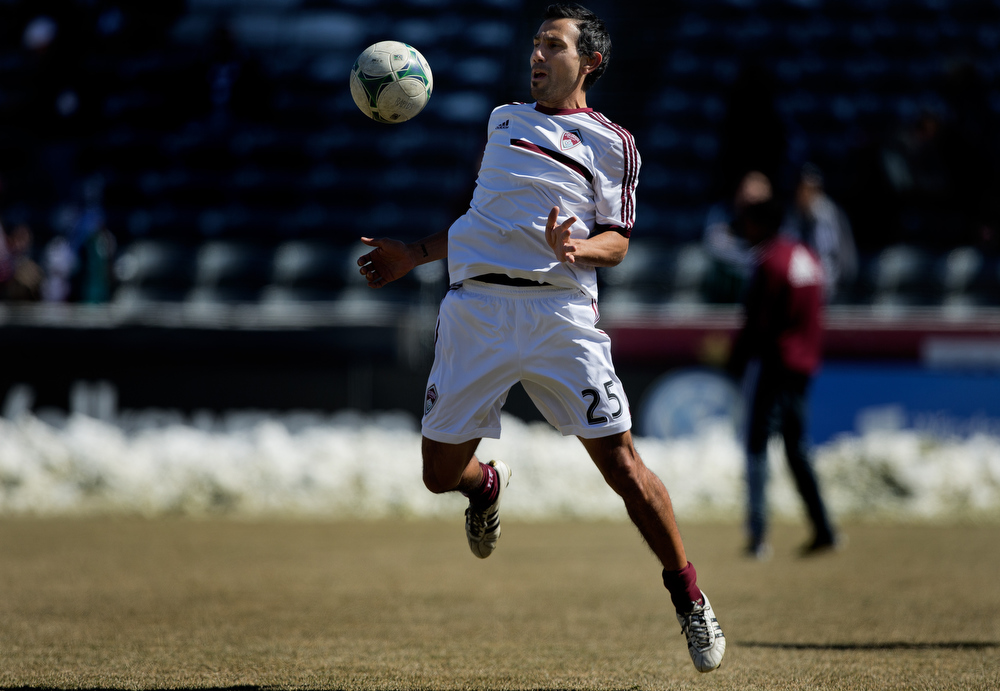 . Pablo Mastroeni #25 of the Colorado Rapids warms up on the field before taking on the Philadelphia Union in the home opener at Dick\'s Sporting Goods Park on March 10, 2013 in Commerce City, Colorado. (Photo by Justin Edmonds/Getty Images)