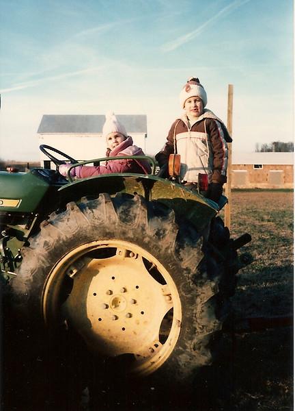 Catherine & Edward III on the tractor - Thanksgiving '84 - Thompson Farm