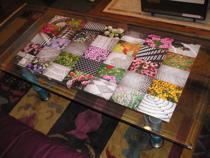 Coffee table photos - a checkerboard of flowers in color and human-made geometric patterns in black and white.