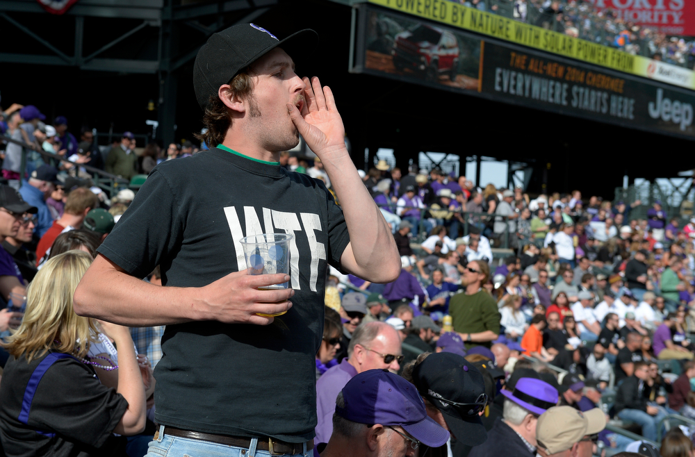 . DENVER, CO. - APRIL 04: John Quillin heckles a Arizona player during the Colorado Rockies home opener against the Diamondbacks at Coors Field in Denver, CO April 04, 2014. (Photo By Craig F. Walker / The Denver Post)