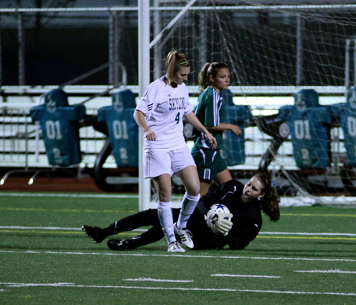Molly Stinson, Maddie Jones Woodinville High Girls Varsity Soccer verse Skyline High October 20, 2011, ©Neir
