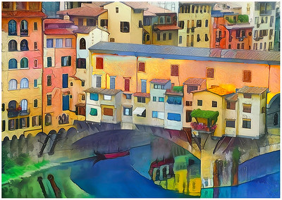 Florence: Arno and Ponte Vecchio Fantasy