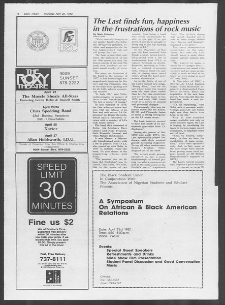 Daily Trojan, Vol. 91, No. 64, April 22, 1982